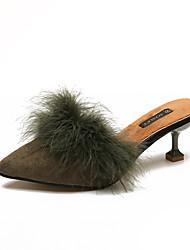 Dámské Boty PU Zima Podzim Pohodlné hrbit boty Podpatky Nízký podpatek Kulatý palec Pro Ležérní Černá Hnědá Armádní zelená Růžová Mandlová