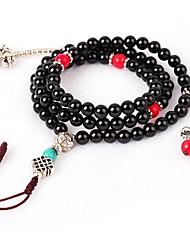 billige -Dame Strand Armbånd Wrap Armbånd Multi-sten Obsidian Vintage Mode Agat Cirkelformet Smykker Til Stævnemøde