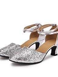 """economico -Da donna Danza moderna Paillette Similpelle Sneaker Per interni Paillettes Tacco su misura Argento 2 """"- 2 3/4"""" Personalizzabile"""