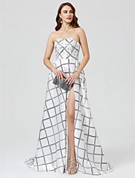 baratos -Linha A Princesa Sem Alças Cauda Escova Cetim Evento Formal Vestido com Miçangas Fenda Frontal de TS Couture®