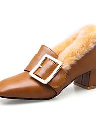 Недорогие -Для женщин Обувь Дерматин Осень Зима Флисовая подкладка Обувь на каблуках Квадратный носок Пряжки Назначение Повседневные Для вечеринки /