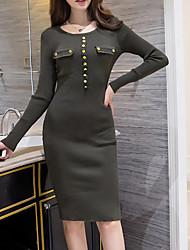 economico -Attillato Vestito Da donna-Da tutti i giorni Casual Semplice Tinta unita Rotonda Medio Maniche lunghe Poliestere Autunno Inverno A vita