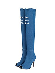 cheap -Women's Shoes Denim Spring Fall Fashion Boots Boots Peep Toe Over The Knee Boots For Casual Light Blue Blue