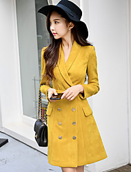 Mujer Recto Vestido Casual/Diario Trabajo Simple,Un Color Escote en Pico Sobre la rodilla Mangas largas Poliéster Licra Otoño Invierno