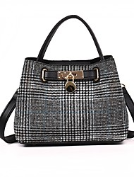 cheap -Women's Bags Denim Shoulder Bag Buttons for All Seasons Black Brown Black/White Khaki