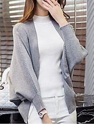 Women's Daily Going out Short Cashmere,Solid V Neck Long Sleeves Acrylic Winter Fall Thick strenchy