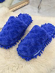 Feminino Sapatos Cashmere Outono Inverno Conforto Chinelos e flip-flops Sem Salto Ponta Redonda Para Casual Azul Escuro Verde Rosa claro