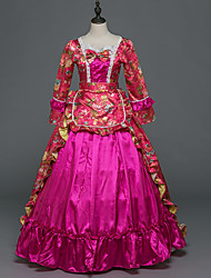 Victorian Rococo Costume Female Adults' Party Costume Masquerade Fuschia Vintage Cosplay Stretch Satin Satin Long Sleeves Floor Length