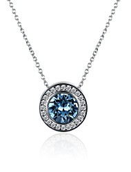 cheap -Women's Crystal Cubic Zirconia Pendant Necklace Chain Necklace  -  Fashion Sweet Circle Light Blue Necklace For Party Evening Party