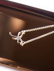cheap -Women's Bowknot Silver Choker Necklace Pendant Necklace - Vintage Elegant Bowknot Silver Necklace For Graduation Work