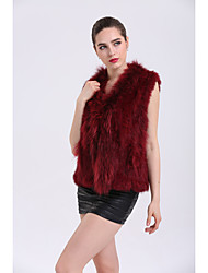 cheap -BF-Fur Style Women's Daily Sophisticated Winter Fall Vest,Solid Sleeveless Regular Rabbit Fur