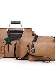 baratos -Mulheres Bolsas PU Conjuntos de saco Conjunto de bolsa de 4 pcs Ziper Rosa / Cinzento / Marron