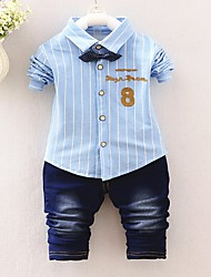 cheap -Boys' Cartoon Clothing Set, Cotton All Seasons Long Sleeves Simple Cute Street chic Blushing Pink Yellow Light Blue