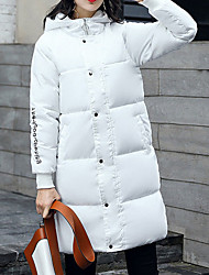 Women's Long Padded Coat,Casual Daily To-Go Solid-Cotton Polyester Long Sleeves