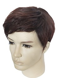cheap -Synthetic Wig kinky Straight Brown Men's Capless Celebrity Wig Natural Wigs Short Synthetic Hair
