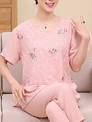 Costumes Pyjamas Femme,Imprimé Fleurs Polyester Bleu Rouge Rose Claire Fuchsia Bleu clair