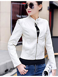 cheap -Women's Daily Going out Simple Casual Sexy Winter Fall Leather Jacket,Solid Short PU