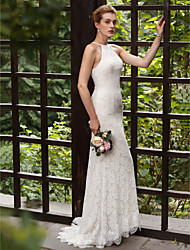 cheap -Mermaid / Trumpet Jewel Neck Sweep / Brush Train All Over Lace Custom Wedding Dresses with Appliques Lace by LAN TING BRIDE®