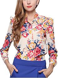 Недорогие -Жен. Офис Сексуальные платья Рубашка, Вырез под горло Цветочный принт Полиэстер