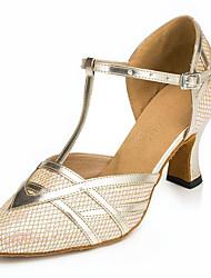 cheap -Women's Modern Leatherette Sandal Sneaker Professional Chunky Heel Black Gold