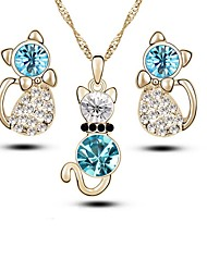 cheap -Women's Crystal Jewelry Set - Crystal, Imitation Diamond Fashion Include Drop Earrings / Necklace Gold / Silver For Daily
