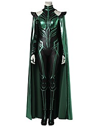 cheap -Super Heroes Hela Cosplay Costume Costume Movie Cosplay Gray & Black Leotard/Onesie Cloak Boots Halloween Carnival Oktoberfest Masquerade