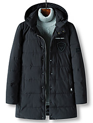 Men's Long Padded Coat,Casual Daily Going out Solid-Polyester Long Sleeves