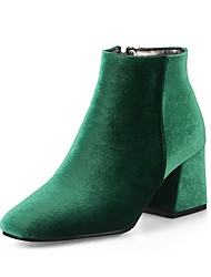 cheap -Women's Shoes Velvet Winter Fashion Boots Boots Chunky Heel Square Toe Booties / Ankle Boots Zipper Red / Green / Almond