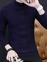 Corto Pullover Da uomo-Casual Tinta unita Dolcevita Manica lunga Acrilico Autunno Inverno Medio spessore Media elasticità