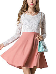 cheap -Women's Daily Wear Going out Sexy Bodycon Lace Dress,Color Block Round Neck Knee-length Long Sleeve Polyester All Season Mid Rise