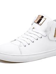 abordables -Homme Chaussures Similicuir Automne Bottes à la Mode Basket Blanc / Noir