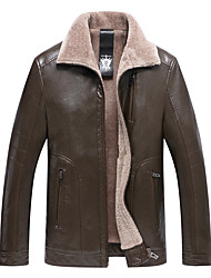 cheap -Men's Leather Jacket - Solid Colored Shirt Collar