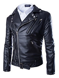 Men's Daily Wear Street chic Winter Fall Leather Jackets,Solid Shirt Collar Long Sleeves Regular PU