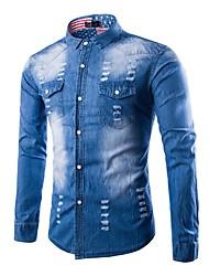 cheap -Men's Vintage Plus Size Cotton Shirt - Solid Colored, Ripped