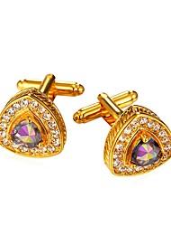 cheap -Triangle Square Cut Heart Silver Golden Cufflinks Brass Romantic Wedding Party Costume Jewelry