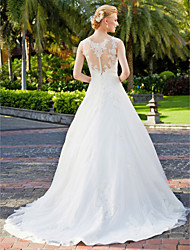 cheap -A-Line Princess Straps Floor Length Tulle Over Lace Custom Wedding Dresses with Appliques Lace by LAN TING BRIDE®
