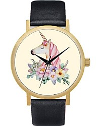 cheap -Women's Wrist Watch Chinese Chronograph Leather Band Flower / Casual / Bohemian Black / Grey / Pink / Stainless Steel / One Year / Sony 377