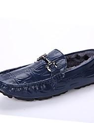 Недорогие -Муж. Fashion Boots Дерматин / Кожа Зима Удобная обувь Мокасины и Свитер Черный / Синий