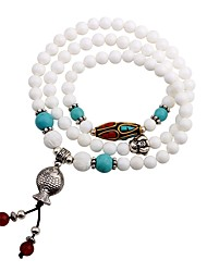 cheap -Women's Onyx Turquoise Wrap Bracelet Strand Bracelet - Classic Ethnic Circle White Bracelet For Party Going out
