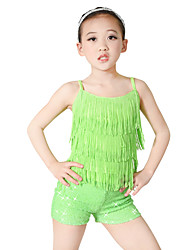 cheap -Kids' Dancewear Outfits Performance Spandex Elastic Elastane Sequined Lycra Paillette Sleeveless Dropped Top Headwear Shorts