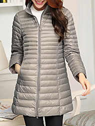 Women's Regular Down Coat,Casual Daily To-Go Solid-Polyester Long Sleeves