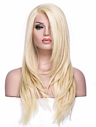 Women Synthetic Wig L Part Medium Length Straight Light golden With Baby Hair Party Wig Cosplay Wig Natural Wigs Costume Wig