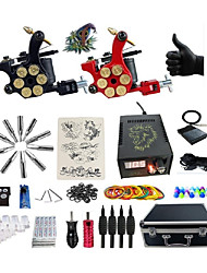cheap -Tattoo Machine Professional Tattoo Kit 2 rotary machine liner & shader High Quality LCD power supply 2 x aluminum grip 4 x disposable grip