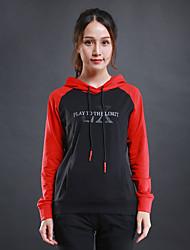 Per donna T-shirt da corsa Manica lunga Allenamento Fitness Felpa per Corsa Esercizi di fitness Cotone Nero Nero/Rosso S M L XL XXL
