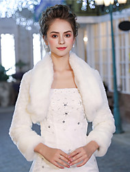 cheap -3/4 Length Sleeves Faux Fur Wedding Party / Evening Women's Wrap With Pattern / Print Smooth Shrugs