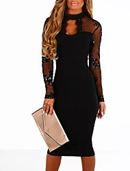 cheap -Women's Bodycon Dress - Patchwork Sequin, Sequins Cut Out Mesh Sexy