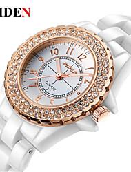 baratos -BIDEN Mulheres Relógio de Pulso Chinês Relógio Casual Cerâmica Banda Casual / Fashion / Elegante Branco