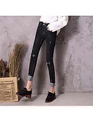 Women's High Rise Micro-elastic Tights Jeans Pants,Vintage Casual Solid Cotton Winter Spring/Fall