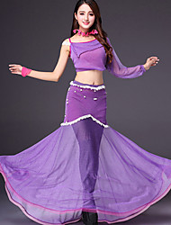 devons-nous la tenue de danse du ventre des femmes de la performance de la dentelle de polyester fendue conjointe à manches longues jupes tombées tops