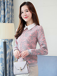 cheap -Women's Daily Sophisticated Shirt,Color Block Shirt Collar Long Sleeves Polyester